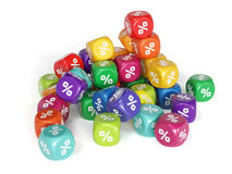 Colorful percent dices. 3d render of colorful percent dices Stock Photo