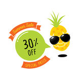 Colorful 30 percent off with pineapple character. With sunglasses Stock Images