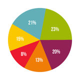 Colorful percentage diagram icon, flat style Royalty Free Stock Photos