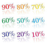 Colorful percentages Royalty Free Stock Image
