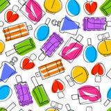 Perfume bottles icons seamless pattern. Eau de parfum. Colorful perfume bottles icons seamless pattern. Eau de parfum background. Eau de toilette. Doodle sketch Stock Photos