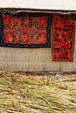 Colorful peruvian blankets Stock Photos