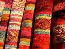 Colorful peruvian fabric Royalty Free Stock Photos
