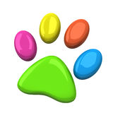 Colorful pet paw, 3d Stock Image