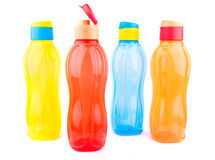 Colorful pet water bottles. Beautiful colorful pet water bottles over white background Royalty Free Stock Image