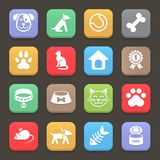 Colorful Pets icons set for web or mobile. Vector Royalty Free Stock Photo