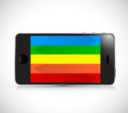 Colorful phone. rainbow screen. illustration Royalty Free Stock Photography