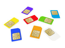 Colorful phone SIM cards on white background Royalty Free Stock Photos
