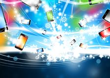 Colorful Phones flying Xmas Background Royalty Free Stock Photo