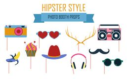 Colorful photo booth props icon set vector illustration. Collection of icons with hipster style design elements such as red lips, hat, mustache. Perfect for Stock Images