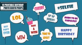 Colorful photo booth props set vector illustration. Collection of birthday party speech bubbles. Perfect for photobooth shooting stock illustration