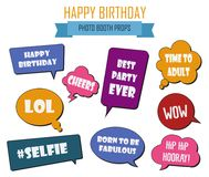 Colorful photo booth props set vector illustration. Collection of design elements with birthday party speech bubbles. Perfect for photobooth shooting stock illustration