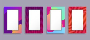 Colorful Photo Frames Set Vector Illustration. Rectangular shape border boxes with various colors and ornament patterns isolated on grey background royalty free illustration