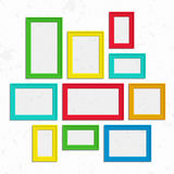 Colorful photo frames set. Set of colorful wooden frames. Wooden square picture frames of colorful set for your web design. Abstract colorful picture frames on Stock Photography