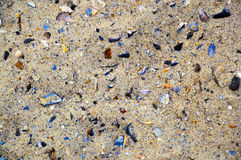 Colorful photo of the sea beach sand with a lot of color broken shells Royalty Free Stock Photography