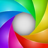 Colorful photo shutter aperture. Abstract colorful photo shutter aperture background with copy space Stock Photo