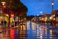 San Francisco Colorful Wet Street at Dusk royalty free stock photography