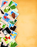 Colorful photos on old paper background Royalty Free Stock Images