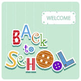The colorful phrase back to school. And the word welcome on the green background Stock Photos