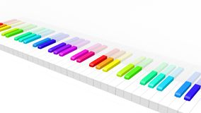 Colorful piano. Abstract 3d illustration of colorful piano keyboard over white background. Fun rainbow colored piano keyboard Royalty Free Stock Photos
