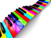 Colorful piano background. Abstract 3d illustration of colorful piano keyboard over white background royalty free illustration