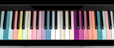 Colorful piano key board. 3d rendering image stock image