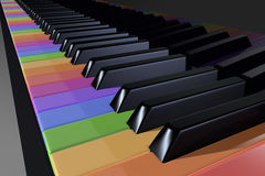 Colorful piano keyboard, clavier. 3d rendering Stock Photos