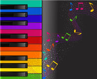 Colorful piano keyboard with musical notes. Vector colorful piano keyboard with musical notes on a black background Royalty Free Stock Photo