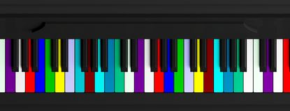 Colorful piano keyboard, top view, banner. 3d illustration. Diversity concept. Rainbow piano keyboard, top view, banner. 3d illustration Royalty Free Stock Images