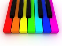 Colorful piano keys. 3d illustration of colorful piano keys over white baclground Royalty Free Stock Photo