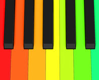The colorful piano keys. 3d generated picture of colorful piano keys Stock Photos