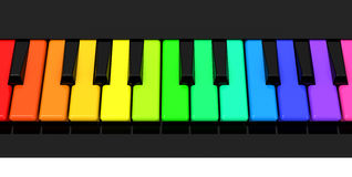 The colorful piano keys. 3d generated picture of colorful piano keys Stock Image