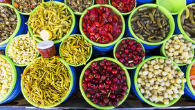 Colorful pickles Stock Photos
