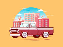 Colorful Pickup Car Template Stock Images