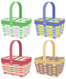 Colored picnic baskets. Colorful picnic baskets on white background Royalty Free Stock Images