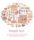 Colorful picnic card. Hand-drawing style colorful picnic invitation card Royalty Free Stock Photography