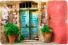 Colorful pictorial old streets of Greek islands, Crete Stock Photos
