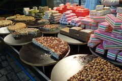 Nut Treats in Akko, Israel. Colorful picture of a baklava stand in Akko or Acre in Israel Stock Photos