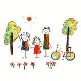 Colorful picture of bicycle and happy family Stock Photo