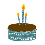 Colorful picture birthday cake with candles Stock Images