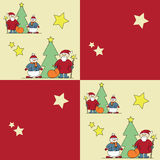 Colorful picture with dedomorozom, snowman and Chr Royalty Free Stock Photos