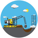 Colorful picture of digger Stock Images