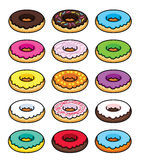Colorful picture donuts in different glaze Royalty Free Stock Photo