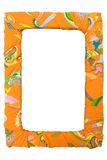 Colorful Picture Frame. Orange textile frame isolated on a white background. File contains clipping path Stock Photo