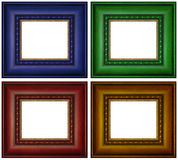 Colorful Picture Frames. Set of brightly colored picture frames with gold inner border isolated over white background Stock Images