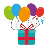 Colorful picture gift box and balloons with confetti Royalty Free Stock Photos