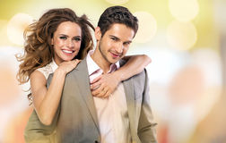 Colorful picture of happy couple royalty free stock image