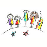 Colorful picture of happy family. Royalty Free Stock Images