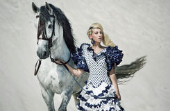 Colorful picture of the lady with horse stock photo