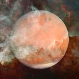 Colorful picture represents Mars, nebulas and galaxies. In deep space. Elements of this image furnished by NASA royalty free stock images